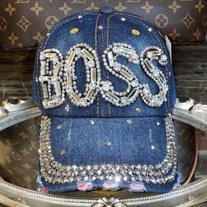 BOSS Rhinestone Denim Women's Cap / Hat